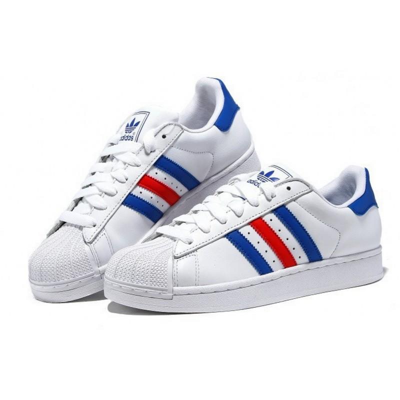 25fa007a4b4 Adidas Superstar Blancas Azules y Rojas - Outlet Selective Shop